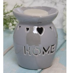 A charming grey toned tlight holder set with a cut HOME text decal and dipped dish for wax and oils