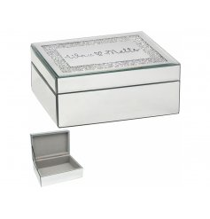 A gorgeous mirrored storage box with a soft grey inner lining and script text 'Wax Melt' decal to complete