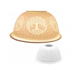 A beautifully designed ceramic plate and dome that can hold a tlight within it