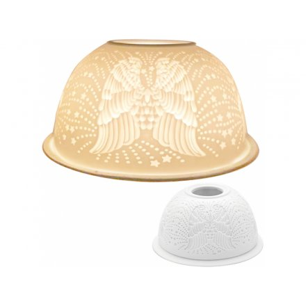 12cm White Tlight Dome, Angel Wings