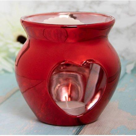 12cm Glass Wax Warmer, Deep Red