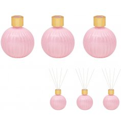 A set of 3 mini Diffusers each filled with a stunning and freshly themed Peony and Blush liquid