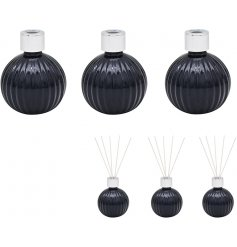 Sure to provide a delightful scent within any home space, A set of 3 bulb diffusers in a black hue with silver accents
