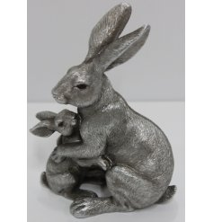 Part of the charming Leonardo Range, An ornamental Hare and Baby Decoration with a rough silvered tone and intricate de
