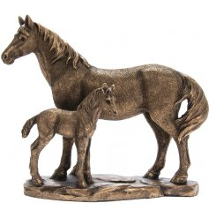 Part of the beautiful Bronzed Reflections Range, a sweetly posed Horse and Foal Ornament