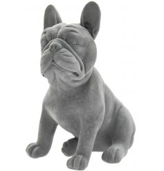 Part of a chic and simple ornaments range, a posed french bulldog with a sleek grey velvet coat to finish