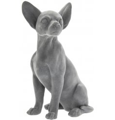 Part of a gorgeous new range, a posed Chihuahua ornament coated with a luxe grey velvet
