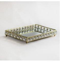 Gold Rectangular Crystal Edged Tray, 29cm   Perfect for adding a stunning hint of Luxury to any living space,