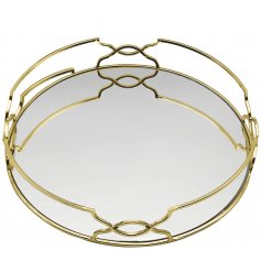 A gorgeous Gatsby inspired rounded tray with a mirrored centre and golden tone to finish