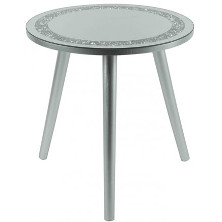Mirrored Crystal Side Table, 38cm