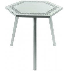 Sure to add a glitzy statement to any home space, a tall 3 legged table with a Hexagonal shaped mirrored glitter top
