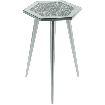 Mirrored Crystal Hexagonal Side Table, 33cm