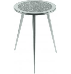 Sure to add a glitzy statement to any home space, a tall 3 legged table with a mirrored glitter top