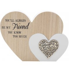 Bring home a sentimental and almost comical feel with this natural toned smooth wooden heart block