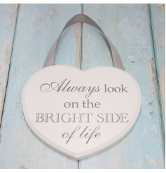 A sleek and stylish Shabby Chic inspired hanging heart plaque,