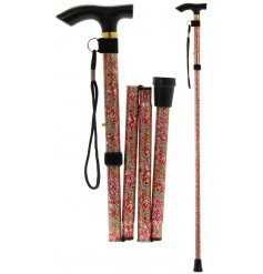 An easy fold away walking stick set with a charming Red Strawberry Thief inspired decal