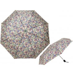 A foldable umbrella with an easy carry handle and stylish Golden Lily decal