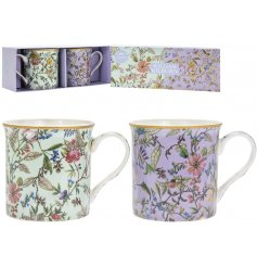 this set of 2 mugs is sure to add a beautiful spring hint to your home