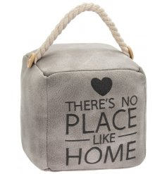 A grey toned faux leather square doorstop with a stitched block quote and chunky rope handle for decal