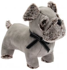 A grey toned faux leather and fur covered pug doorstop with added country charm and a bow tie