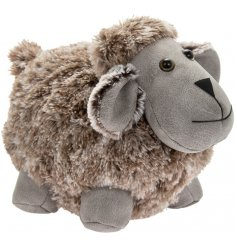 A grey toned faux leather and fur covered sheep doorstop with added country charm and a bow tie