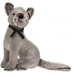 A grey toned faux leather covered Cat doorstop with added faux fur accents and tied bow