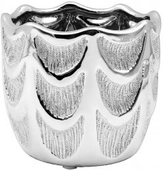A decorative planter featuring a striking angel wing inspired pattern and glittery silver touches to finish