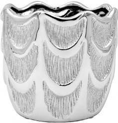 A large decorative planter featuring a striking angel wing inspired pattern and glittery silver touches to finish
