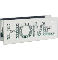 A gorgeously set mirrored 3 space tlight holder with an added HOME text decal and sleek design
