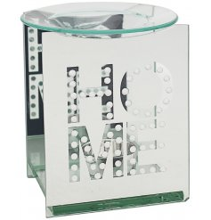 A gorgeously set mirrored tlight holder with an added HOME text decal and dipped dish for wax/oil burning