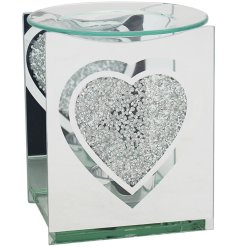 a mirrored tlight holder with added diamonte heart features and a dipped dish for melting waxes
