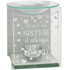 A charming gift idea to give to any delightful Sister. A glass tlight holder with a dipped dish for oil/wax melting