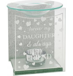 A charming gift idea to give to any delightful Auntie. A glass tlight holder with a dipped dish for oil/wax melting
