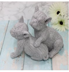 Covered with glittery bling decals, this Luxe themed French Bulldog ornament is a must have for any home