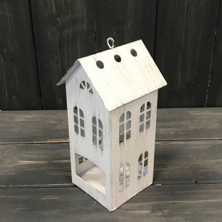 Rustic White T-light House, 16cm