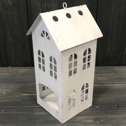 Rustic White T-light House, 20.5cm