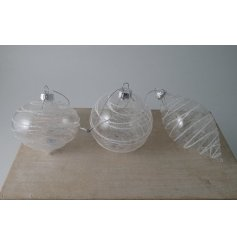 a mix of shaped glass baubles with added spun glass features