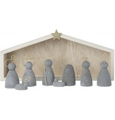 This set of cement nativity figures is sure to bring a charmingly simple setting to any home space at Christmas Time
