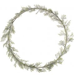 An chic and simple round wreath with fir leaves entwined around it