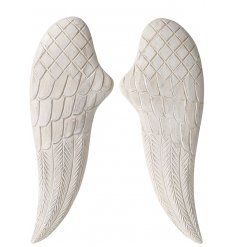 A stunning yet simple statement accessory to bring to your home   A pair of natural wood carved angel wings with detaile