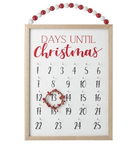 A fun way to keep up with the count down to Christmas! A wooden plaque with added red and white beads for hanging