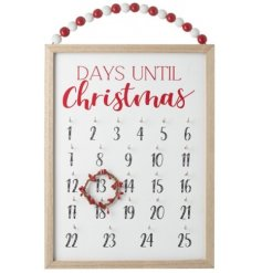 A large wooden plaque with 'Days until Christmas' printed on it, complete with a beaded hanger and little wreath counter