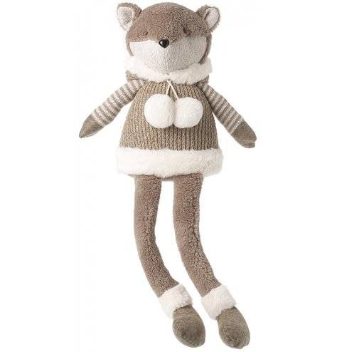 A long dangly legged shelf sitting fox in a soft brown tone with added cuddly features!