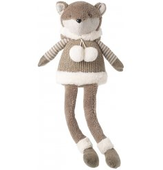 A dangly legged sitting fox plush character, complete with neutral colour tones and a huggable stuffing!