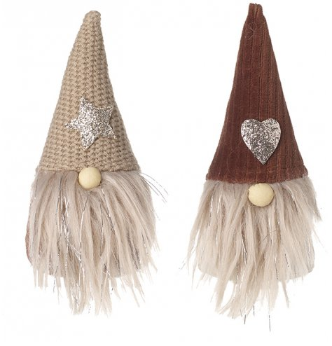 A mix of 2 fabric gonks with knitted hats and Fawn colour tones, trendy characters for any home