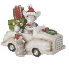 This cute family of mice in a car is sure to bring a cute, festive feel to any home space at Christmas