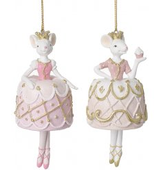 Two elegantly poised mice in pink and gold princess dresses.