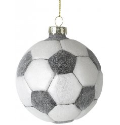 A frosted football bauble. Perfect for a child's Christmas tree.