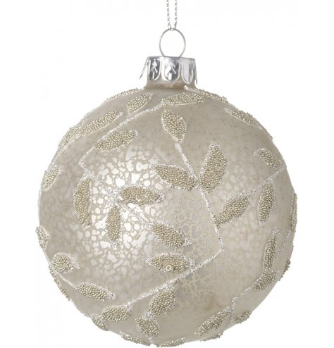 A stunning mottled glass bauble featuring a bead and glitter leafy pattern to surround
