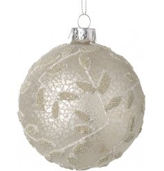 Sure to bring an elegant hint to any tree display at Christmas Time, a glass bauble set with a mottled decal and beaded